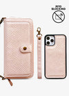 2-in-1 RFID Crossbody Wallet Phone Case in Pink Snakeskin