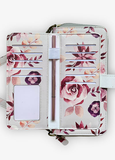 2-in-1 RFID Crossbody Wallet Phone Case in Romantic Floral
