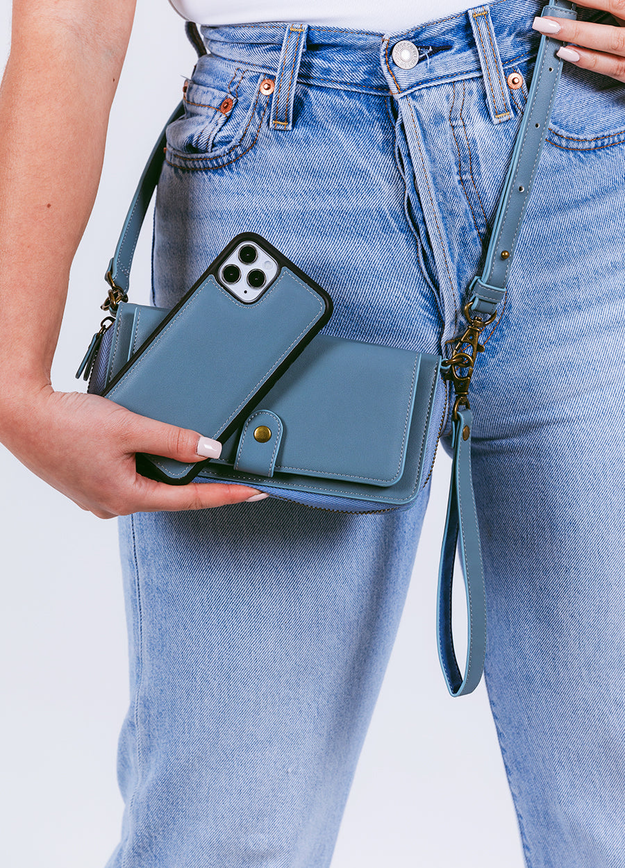 2-in-1 Crossbody Wallet Phone Case in Dove Blue