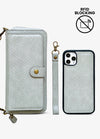 2-in-1 RFID Crossbody Wallet Phone Case in Gray Snakeskin