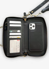 2-in-1 RFID Crossbody Wallet Case in Black Chevron