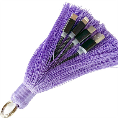 3-in-1 Purple Keychain Tassel Charging Cable