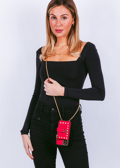 Studded Crossbody Wallet Case in Red