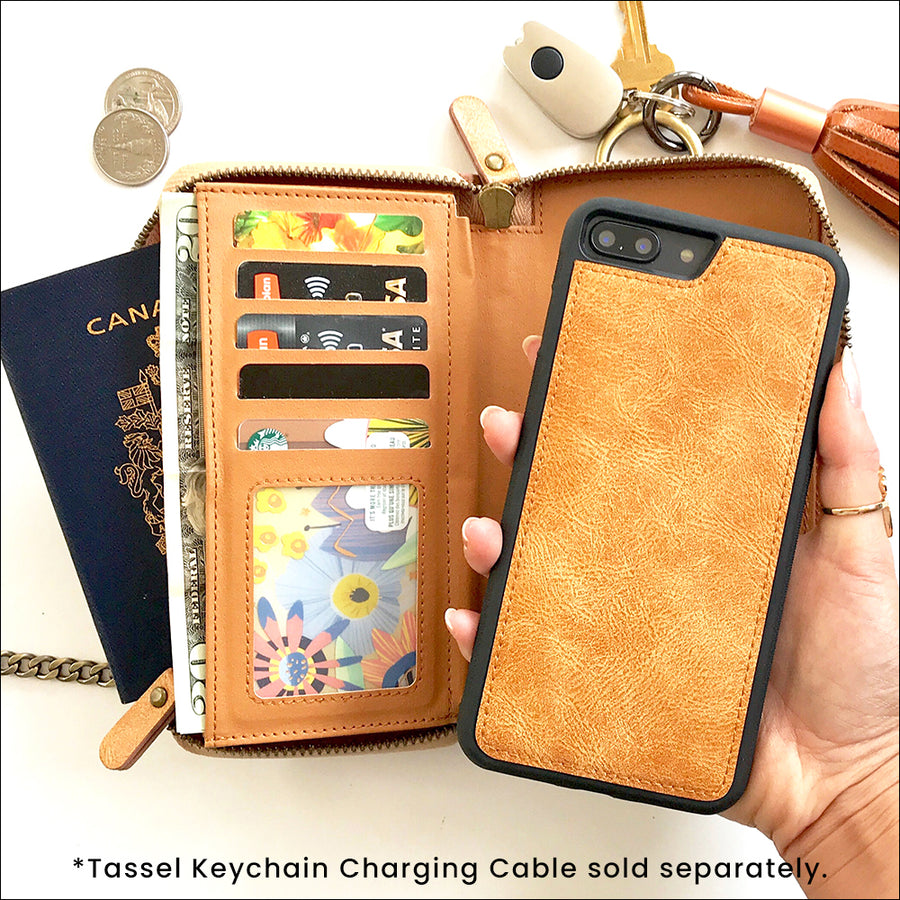 Everyday Crossbody Wallet Phone Case in Almond