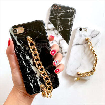 Black Marble Gold Chain Phone Case