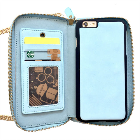 Crossbody Wallet Case in Baby Blue