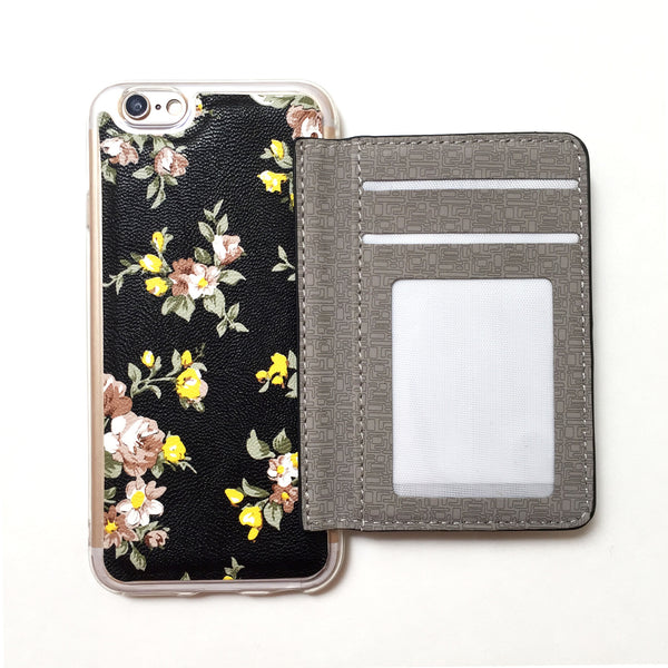Floral Wallet Phone Case In Black Mahalocases