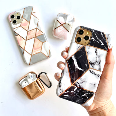 Peach Marble Metallic Geo Phone Case
