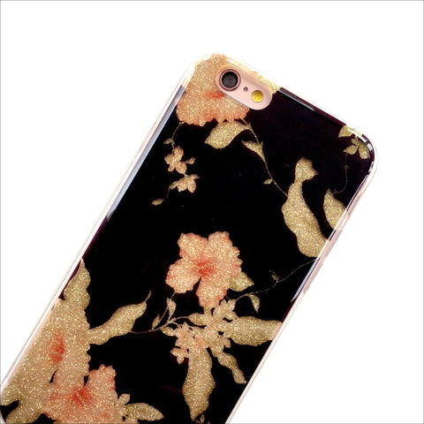 Black Glam Floral Phone Case