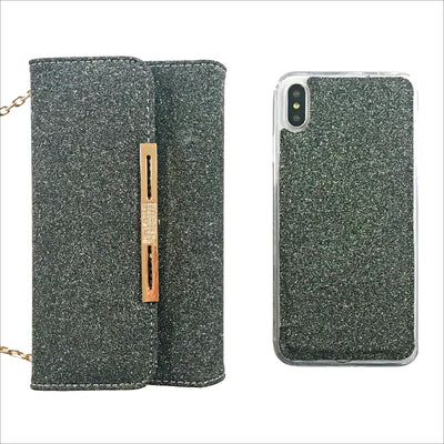 Glam Black Glitter Wallet Phone Case