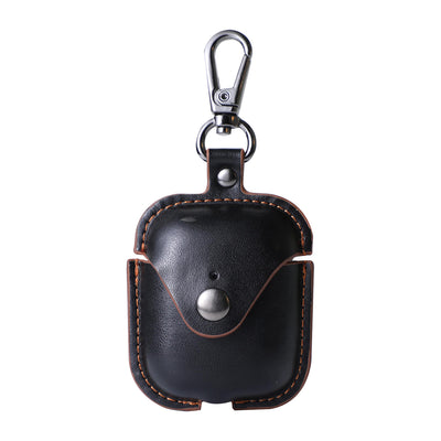 Black Leather Keychain AirPod Case