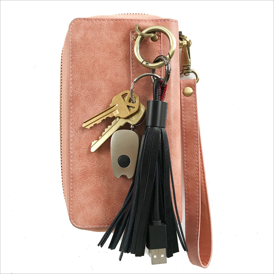 Black Tassel Keychain Charging Cable
