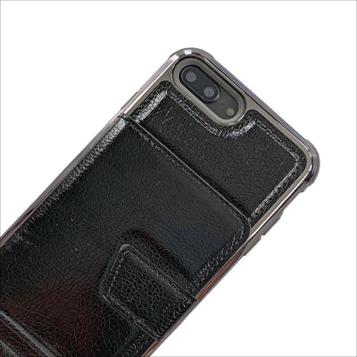 Hidden Mirror Wallet Phone Case in Black