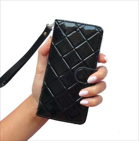 Quilted Mini Wristlet Phone Case - Black
