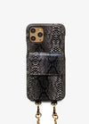 Crossbody Card Case in Black Snakeskin
