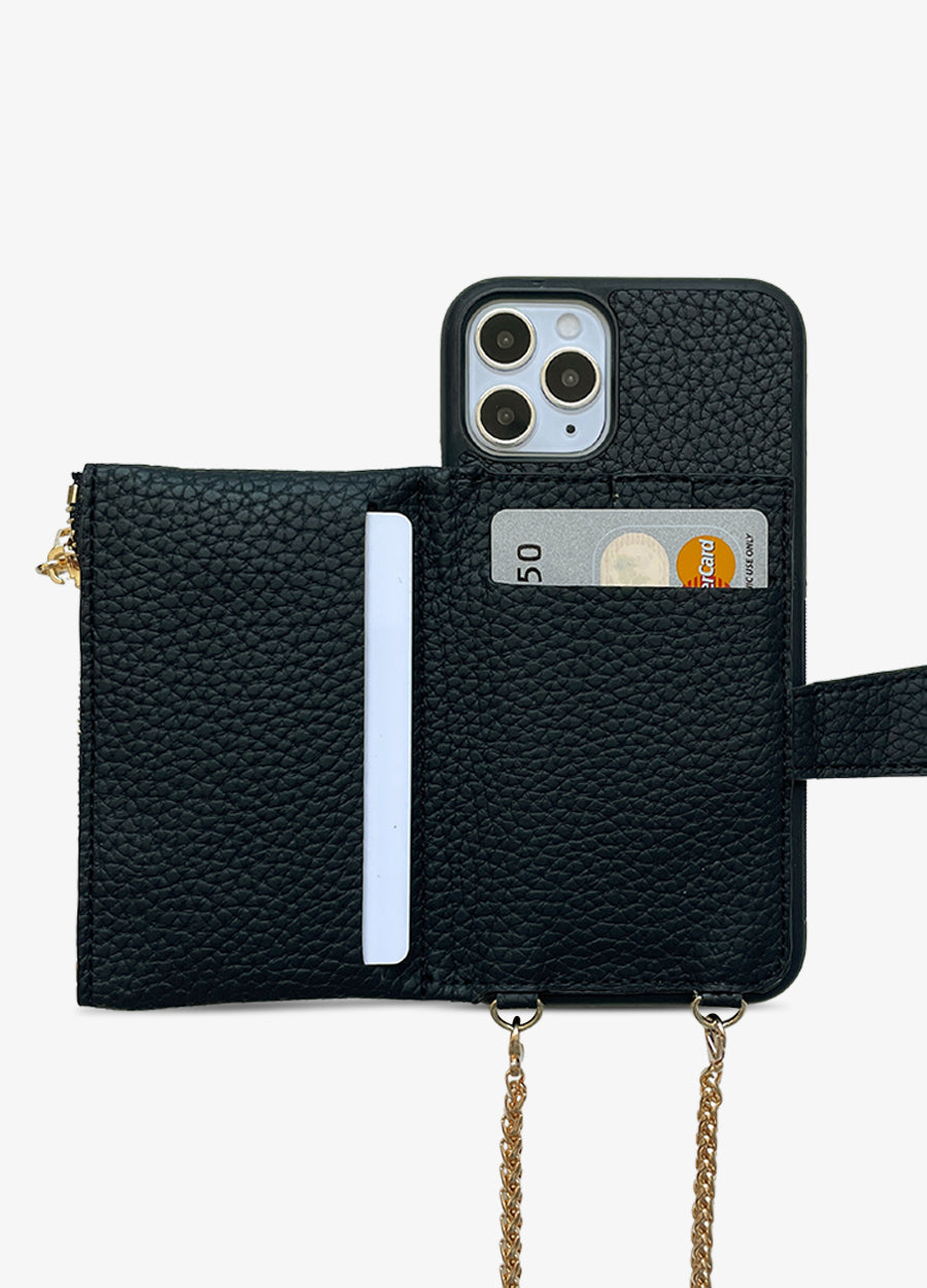 Studded Crossbody Wallet Case in Black