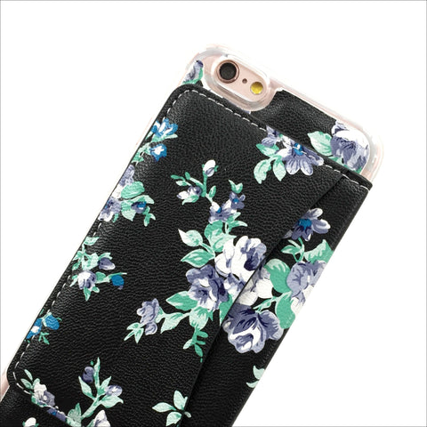 Floral Wallet Phone Case in Black Violet