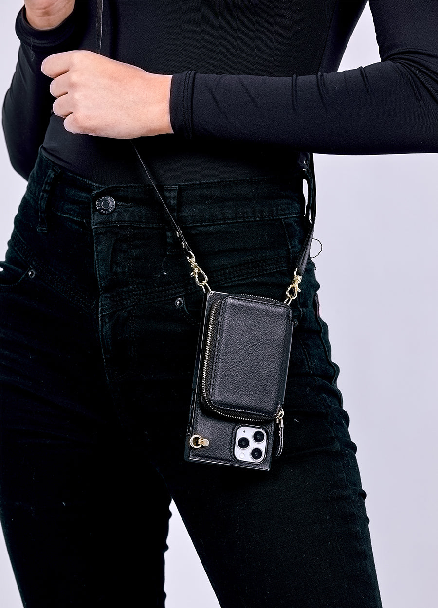 Boxy Crossbody Wallet Case in Black