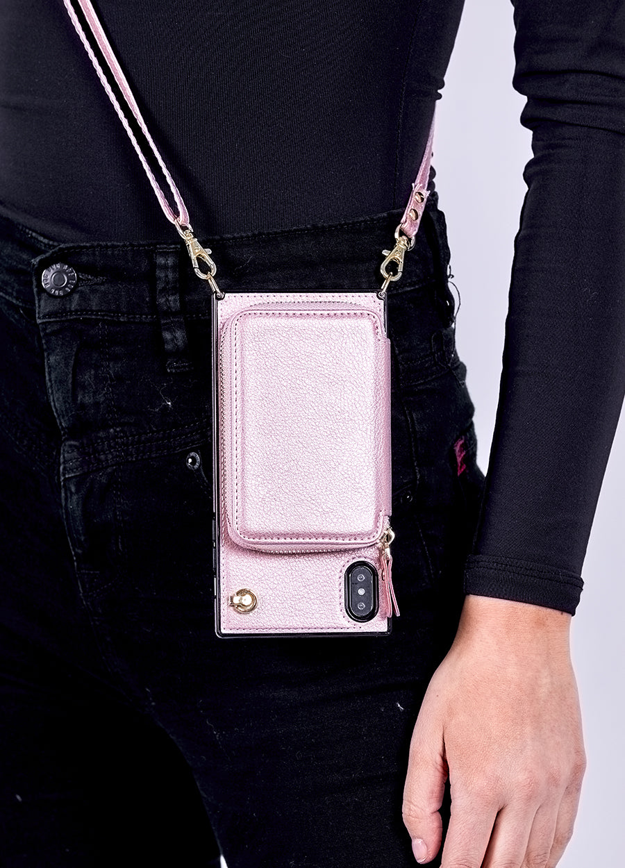 Boxy Crossbody Wallet Case in Rose Gold