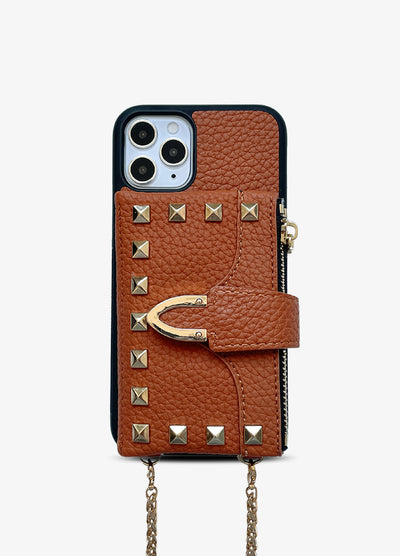 Studded Crossbody Wallet Case in Tan