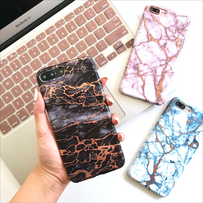 Cracked Storm & Rose Gold Marble Phone Case