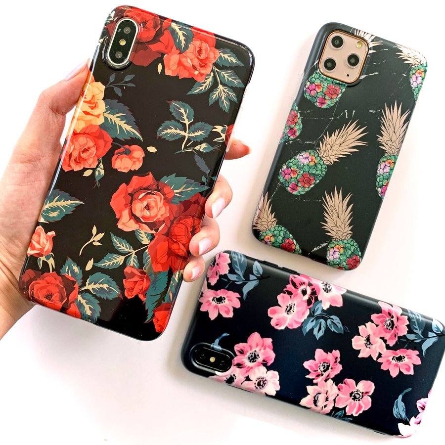 Dark Floral Metallic Phone Case