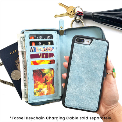 reputable site 22df6 694e6 Everyday Crossbody Wallet Phone Case in Dusty Blue - mahalocases