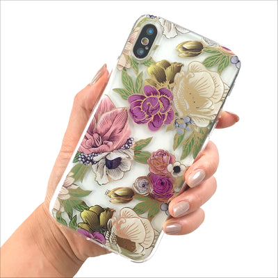 Golden Fall Florals Clear Phone Case