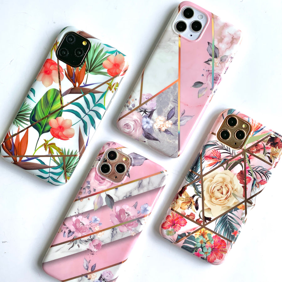 Tropical Floral Metallic Geo Phone Case