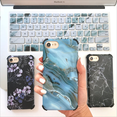 Blue Crystal Marble Protector Phone Case