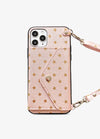 Folded Card Crossbody Wallet Case in Rose Gold Star