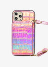 Crossbody Card Case in Pink Holo