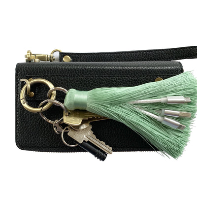 3-in-1 French Green Tassel Keychain Charging Cable