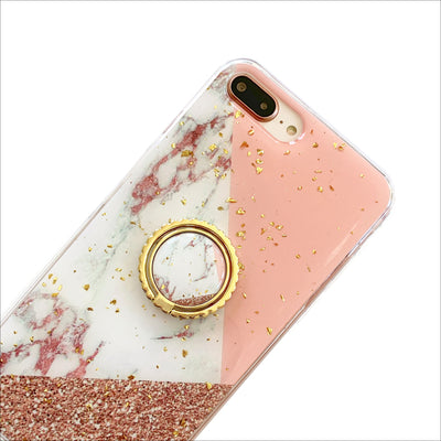 Pink Geo Marble Golden Grip Ring Phone Case