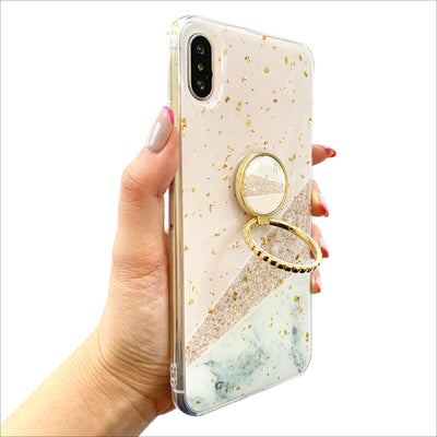 Geo Marble Golden Grip Ring Case