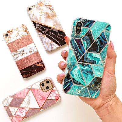 Diamond Metallic Marble Phone Case in Teal