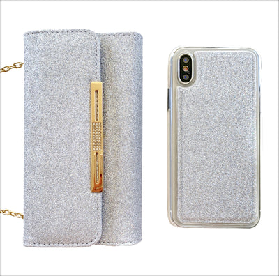 Glam Silver Glitter Wallet Phone Case