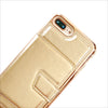 Hidden Mirror Wallet Phone Case in Rose Gold