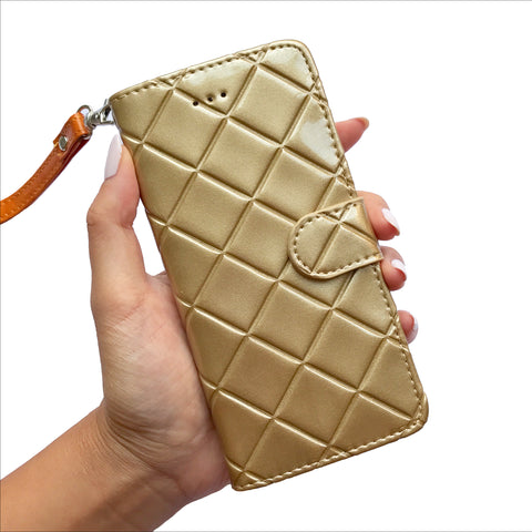Quilted Mini Wristlet Phone Case - Gold