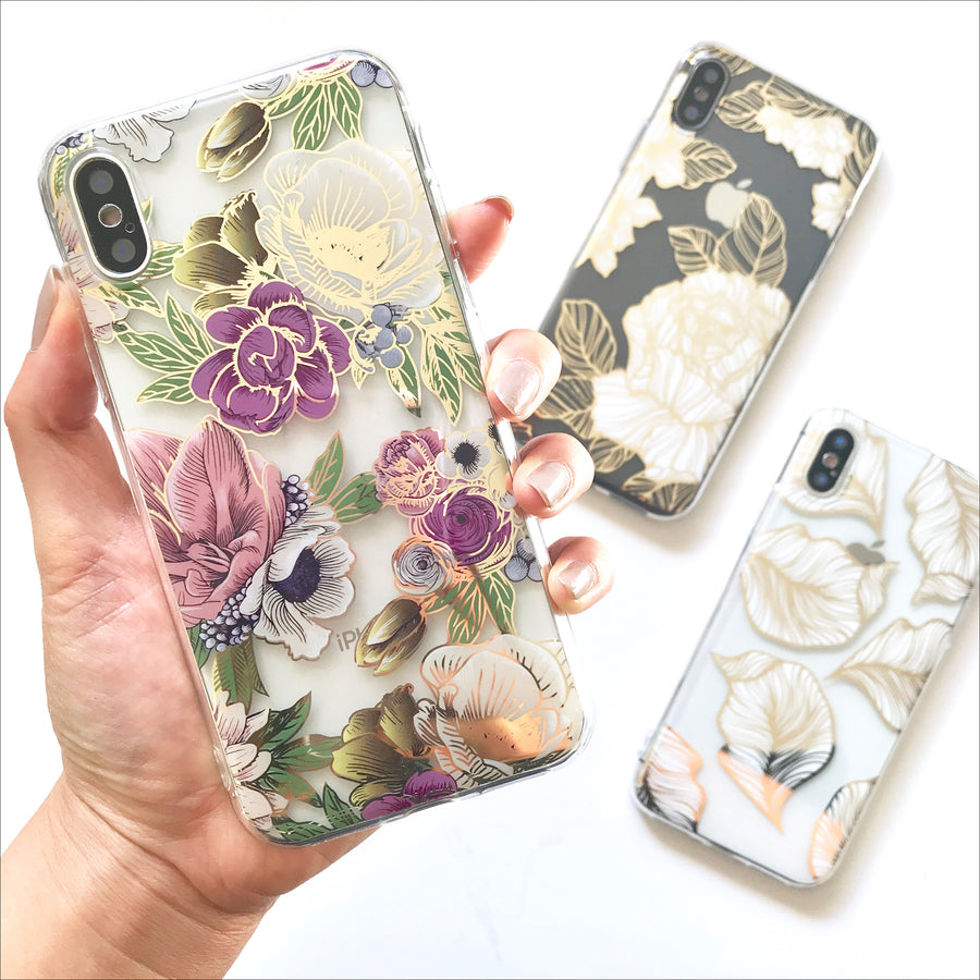 Golden Florals Clear Phone Case