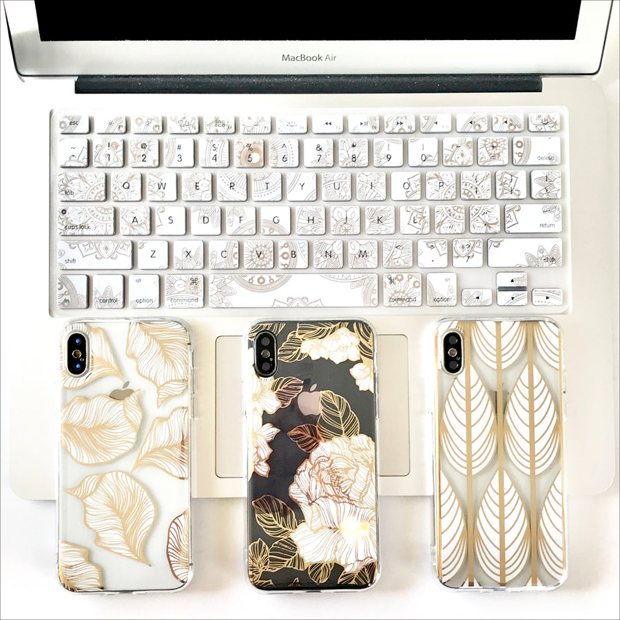 Golden Banana Leaves Clear Phone Case