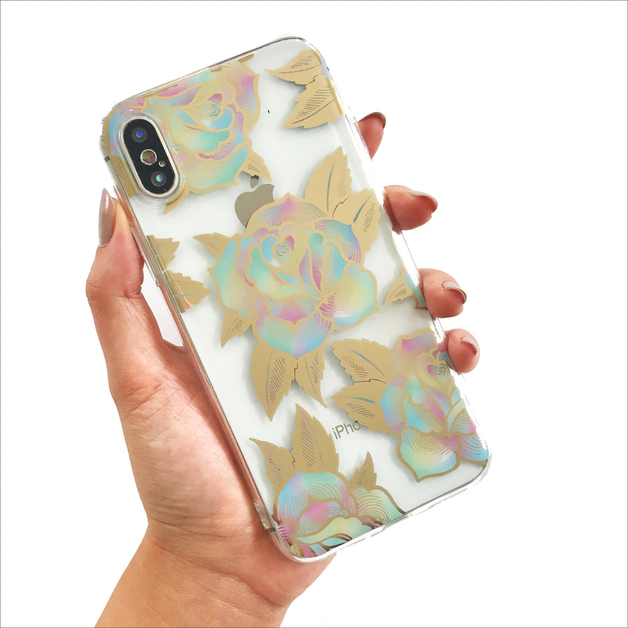 Golden Rainbow Roses Clear Phone Case
