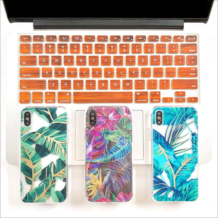 Golden Tropical Palms Clear Phone Case
