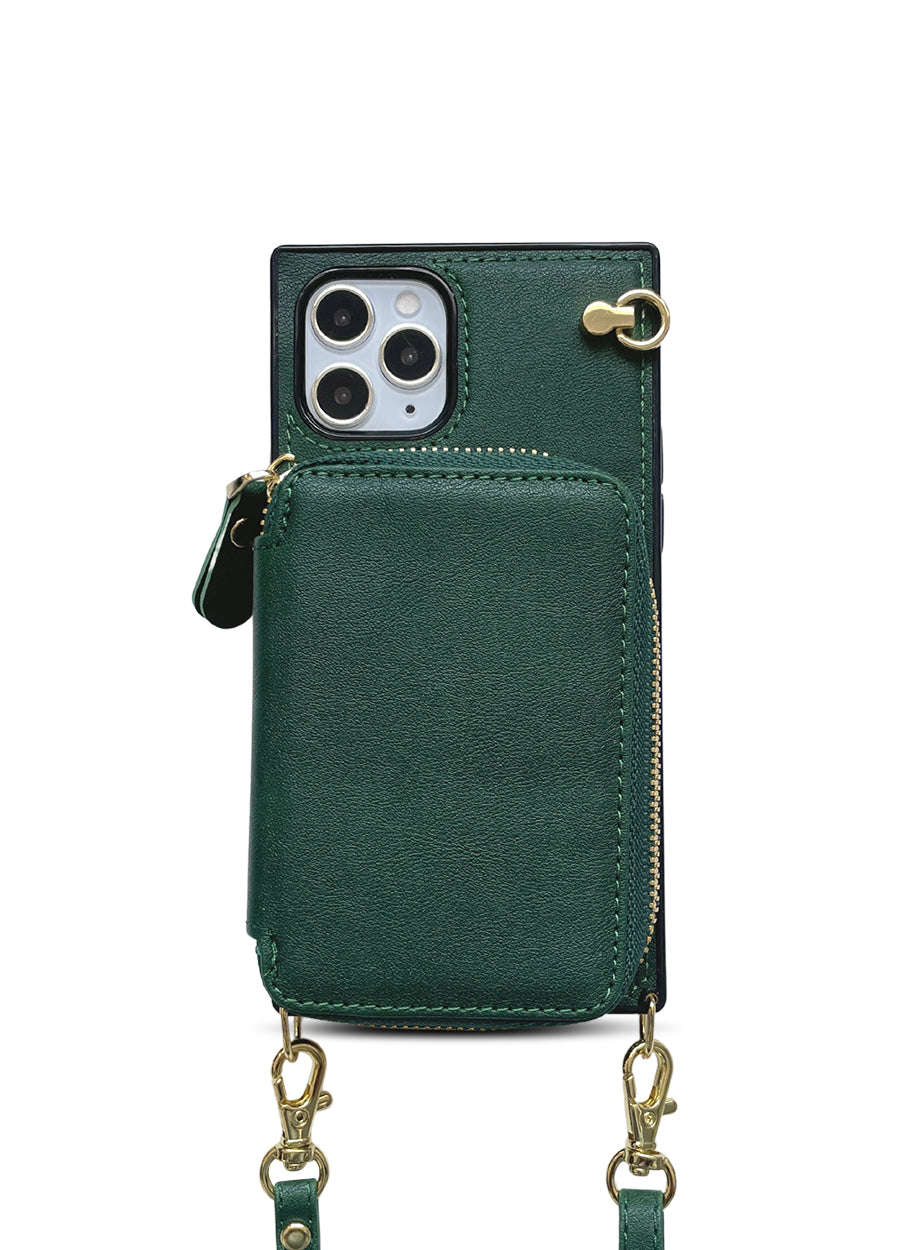 Boxy Crossbody Wallet Case in Forest Green