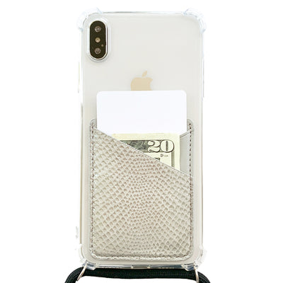 Card Pocket in Gray Snakeskin