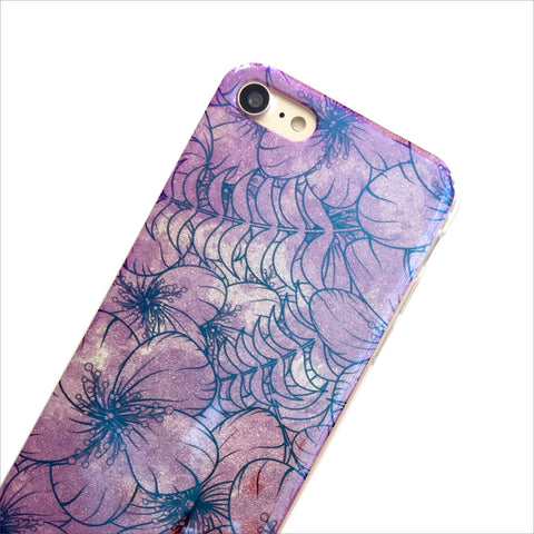 Purple Hibiscus Shimmer Phone Case