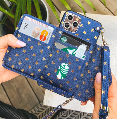 Folded Card Crossbody Wallet Case in Navy Star