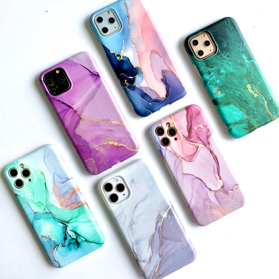 White & Gray Duo Marble Phone Case