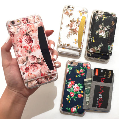 Floral Wallet Phone Case in Black
