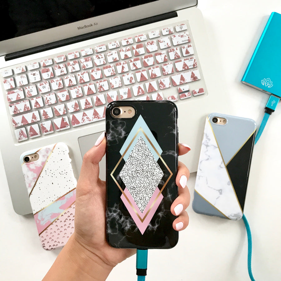 Black Diamond Marble Phone Case